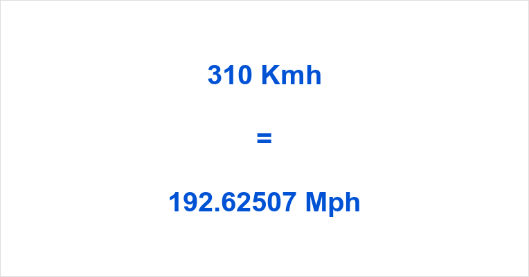 310 Kmh to Mph