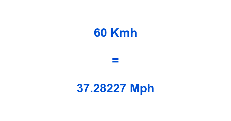 60 Kmh to Mph
