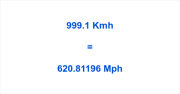 999.1 Kmh to Mph