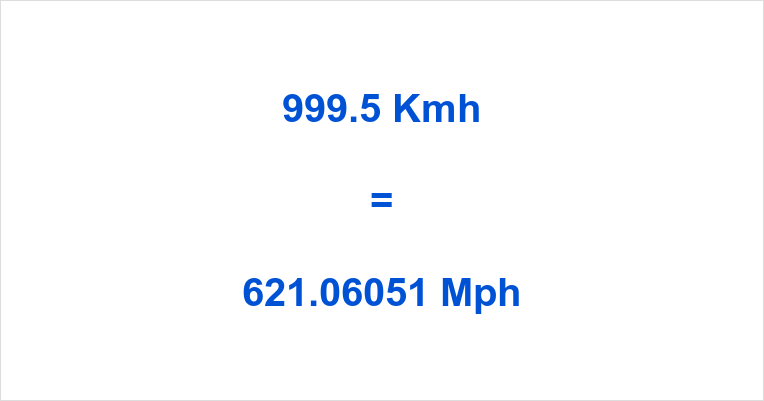 999.5 Kmh to Mph