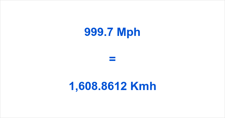 999.7 Mph to Kmh