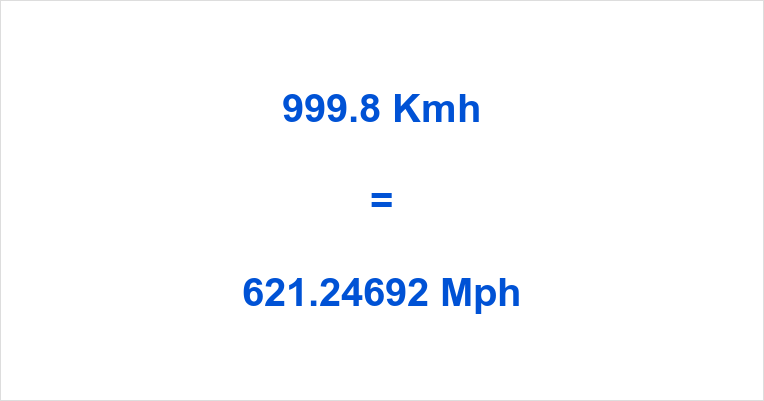 999.8 Kmh to Mph