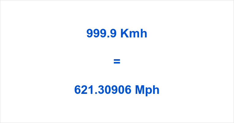 999.9 Kmh to Mph